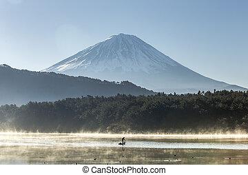 Mount Fuji view from saiko lake. Yamanashi, Japan
