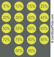 Discount labels Vector - Discount labels in green tones...