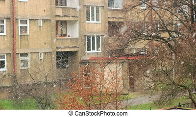 Ugly Urban City Snowfall, Mid Focused - Streets of Prague,...