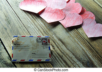Love letter and heart - Valentine39;s dayEnvelope with red...