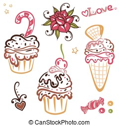 Ice cream, cupcakes - Ice cream and cupcakes vector set,...