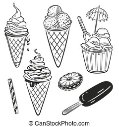 Ice cream and chocolate vector set, colorful design elements