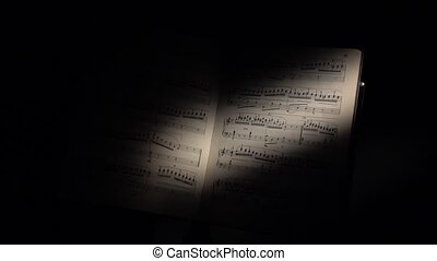 Music notes with ray of light on black - Music notes with...