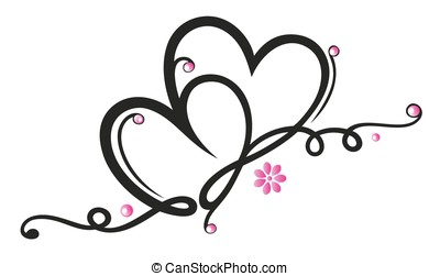 Two hearts with flowers, pink and black.