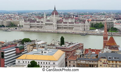 """Budapest View with Parliament Building and Danube River,..."