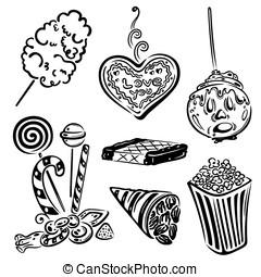 Funfair, sweets - Funfair vector set, design elements.