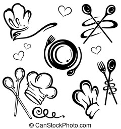 Chef hats, spoon - Chef hats with cooking spoons, vector...