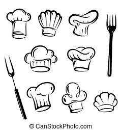 Chef hats - Vector set of chef hats