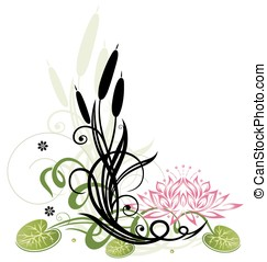 Reed, lotus - Colorful floral vector design, reed and lotus...