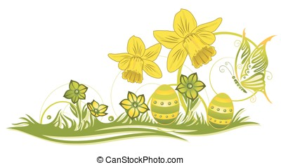 Easter, daffodils - Spring time meadow with daffodils,...
