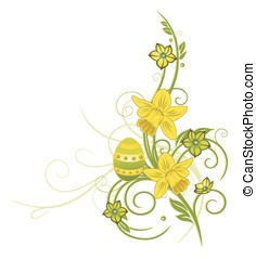 Easter, daffodils - Spring time flowers with daffodils and...