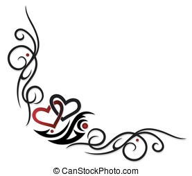 Two hearts with filigree Tribal. Tattoo style.