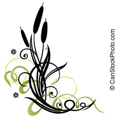 Reed and flowers - Colorful floral vector design, reed and...