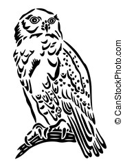 Owl, vector - Black snow owl, abstract illustration