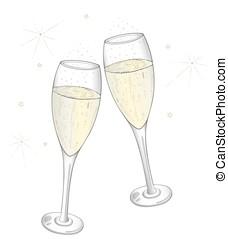 Champagne glasses, vector design.