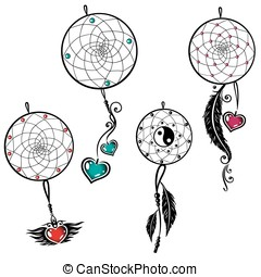 Dreamcatcher - Vector set of dreamcatcher with feathers and...