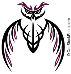 Black and purple owl, abstract vector design