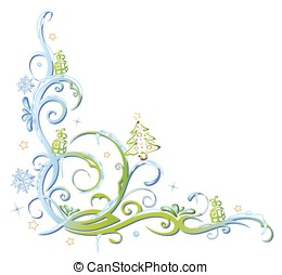 Christmas border with christmas tree and snowflakes. Cold...