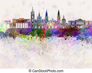 Guadalajara skyline in watercolor background