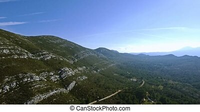 4K Aerial, Beautiful views over a mountain range in Spain -...