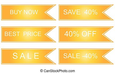 Collection of sale discount labels