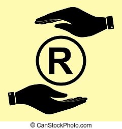 Save or protect symbol by hands. - Registered Trademark...