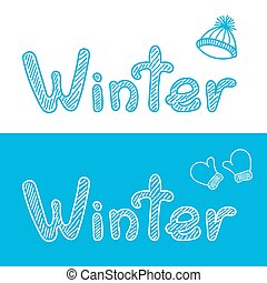 Winter bacgrounds with cap and mittens - Winter hand drawn...