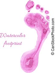 Watercolor children foot - Watercolor pink print of children...