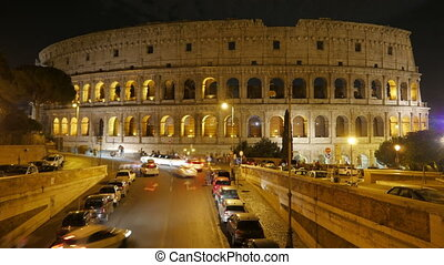 """""""Colosseum at night, rome, italy, timelapse, zoom in, 4k"""""""