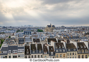 Saint-Germain, l'Auxerrois, church, among, roofs, of, paris