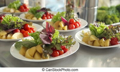 Table setting with fruits and vegetables - Table setting...