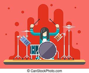 Drummer Drum Icons Set Hard Rock Heavy Folk Music Background Concept Flat Design Vector Illustration