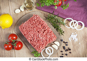 fresh minced - raw minced meat of pork and beef fresh on a...