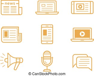 Media icons set - News media icons. Traditional and modern...