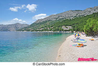 Brela,Dalmatia,Croatia - Beach of Brela at Makarska Riviera...