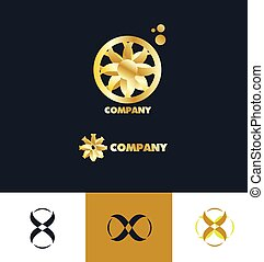 bstract sign gold flower logo - Vector company logo icon...