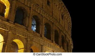 """Colosseum at night, rome, italy, timelapse, zoom in, 4k"""