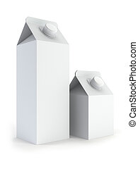 two isolated blank milk box