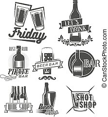 Friday is time to drink. Vector set of weekend party labels in vintage style. Badges, emblems and isolated logos for shop design