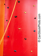 Red climbing wall, leisure activity - Red climbing wall....
