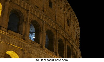 """Colosseum at night, rome, italy, timelapse, 4k"""