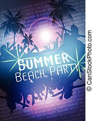 Summer Beach Party Vector Flyer - Vector Illustration