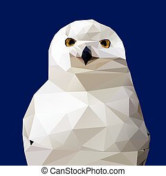 Abstract Low Poly Snowy Owl, (Bubo scandiacus) - Vector...