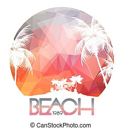 Beach Party Poster with Tropical Island and Palm Trees -...