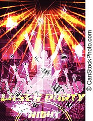 Laser Disco Party Poster with Crowd