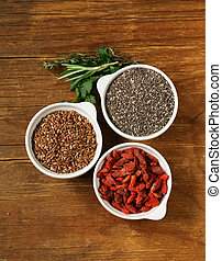 Super food - goji berries, chia seeds, flax seeds