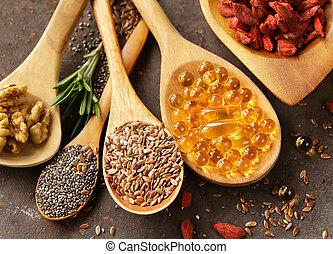 Super food - goji berries, chia seeds, flax seeds, walnuts...