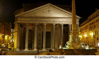 """""""Pantheon at night, rome, italy, timelapse, zoom out, 4k"""""""