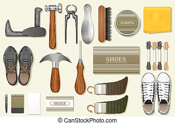 Identity branding mockup for cobbler - easy to edit vector...