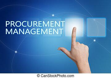 Procurement Management - hand pressing button on interface...